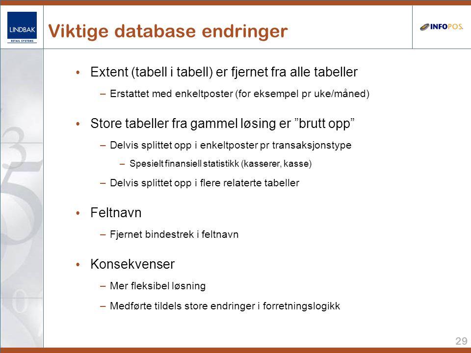 Viktige database endringer