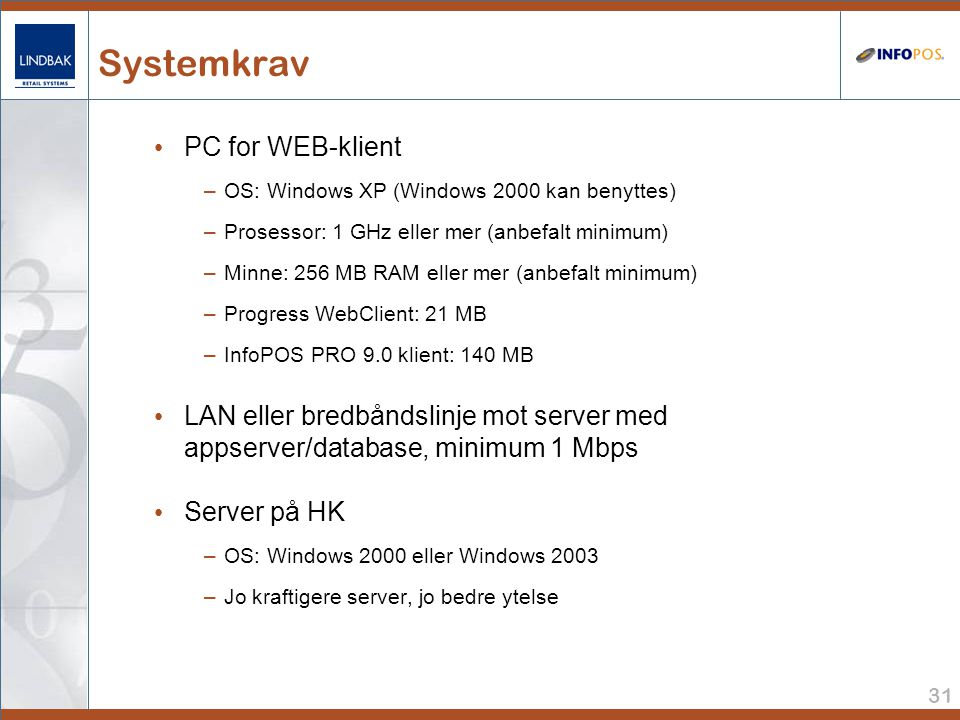 Systemkrav PC for WEB-klient