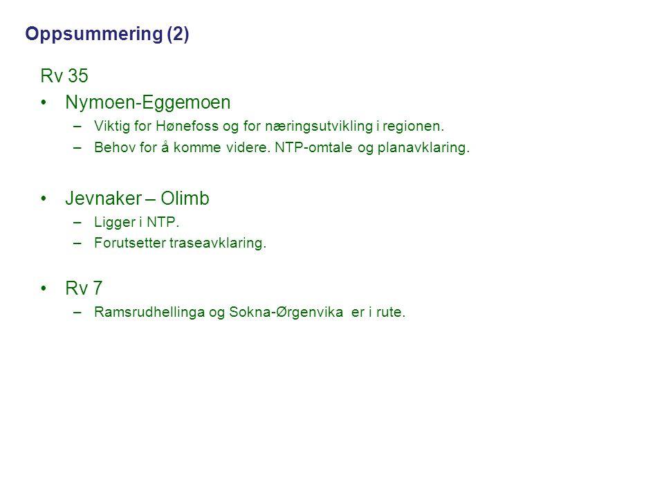 Oppsummering (2) Rv 35 Nymoen-Eggemoen Jevnaker – Olimb Rv 7
