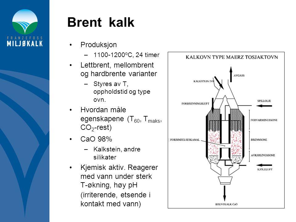 Brent kalk Produksjon Lettbrent, mellombrent og hardbrente varianter