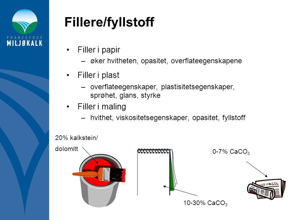 Fillere/fyllstoff Filler i papir Filler i plast Filler i maling