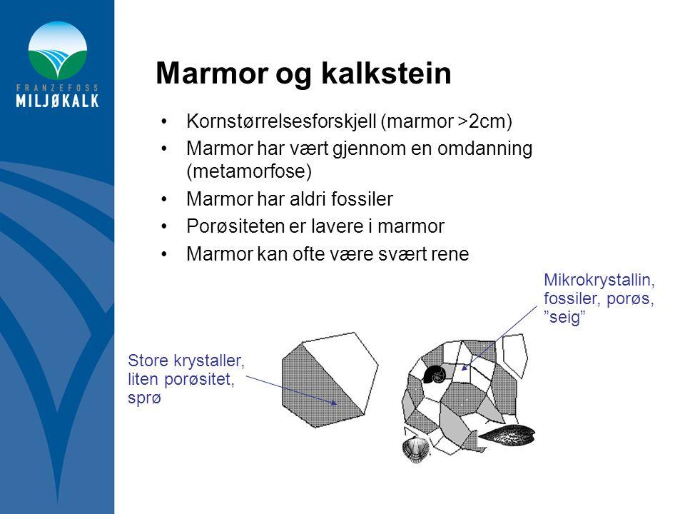 Marmor og kalkstein Kornstørrelsesforskjell (marmor >2cm)