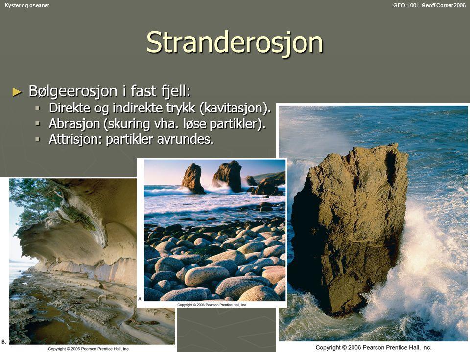 Stranderosjon Bølgeerosjon i fast fjell: