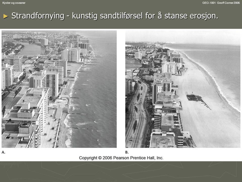Strandfornying - kunstig sandtilførsel for å stanse erosjon.