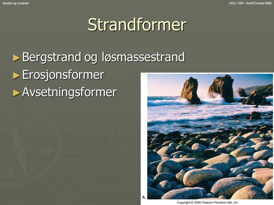 Strandformer Bergstrand og løsmassestrand Erosjonsformer