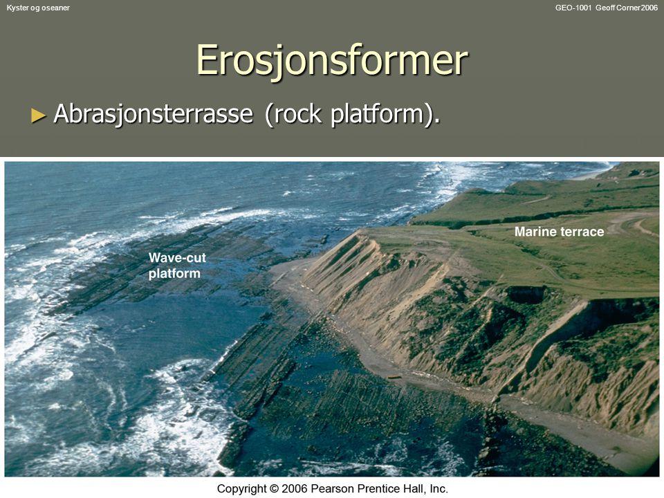 Erosjonsformer Abrasjonsterrasse (rock platform). Kyster og oseaner