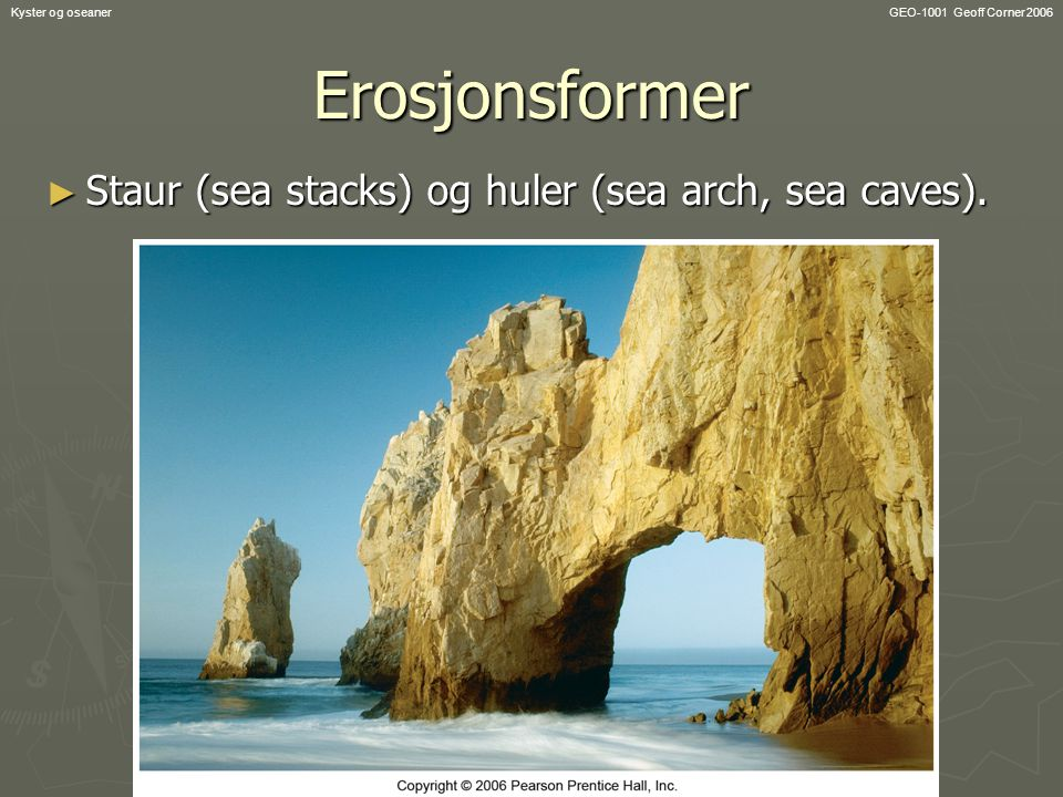 Erosjonsformer Staur (sea stacks) og huler (sea arch, sea caves).