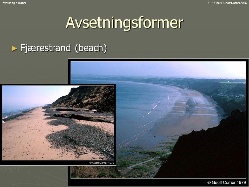 Avsetningsformer Fjærestrand (beach) Kyster og oseaner
