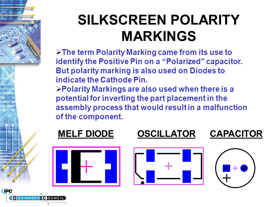 SILKSCREEN POLARITY MARKINGS