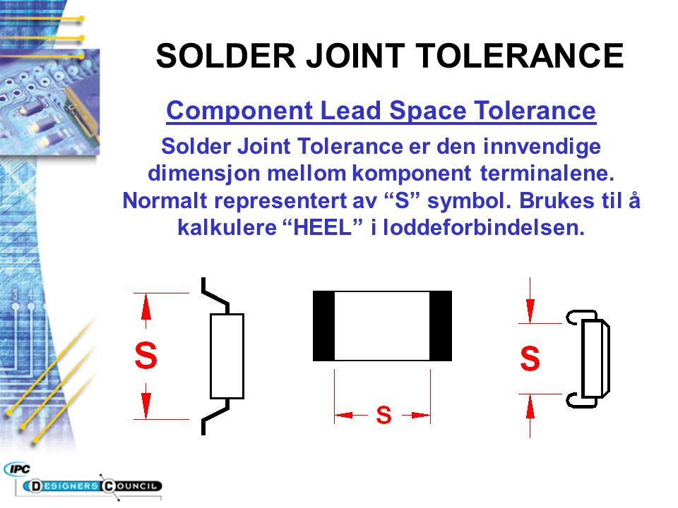 SOLDER JOINT TOLERANCE Component Lead Space Tolerance
