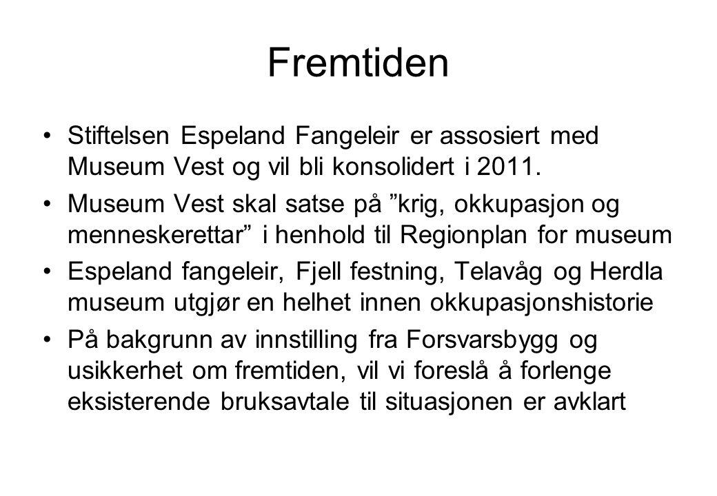 Fremtiden Stiftelsen Espeland Fangeleir er assosiert med Museum Vest og vil bli konsolidert i 2011.