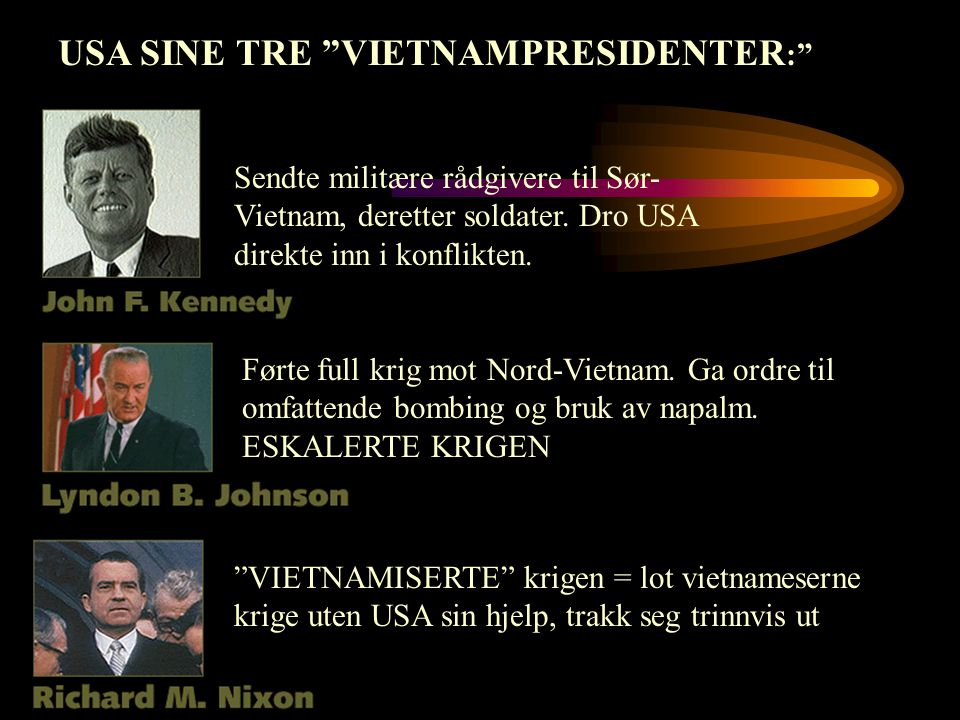 USA SINE TRE VIETNAMPRESIDENTER: