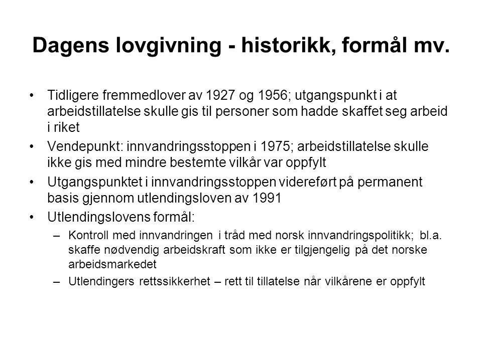 Dagens lovgivning - historikk, formål mv.