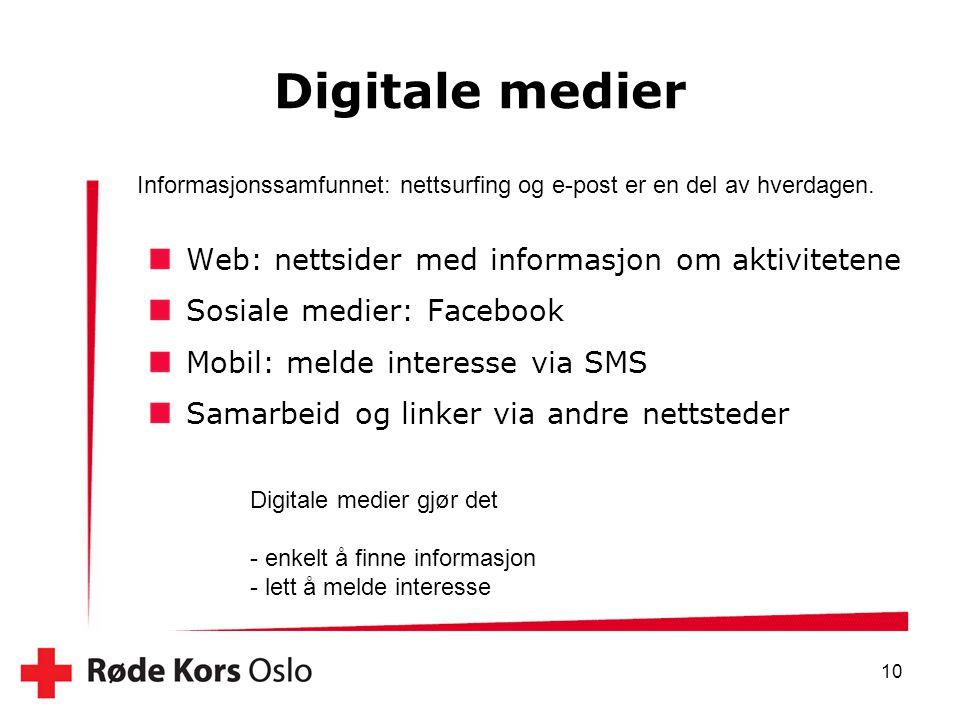 Digitale medier Web: nettsider med informasjon om aktivitetene
