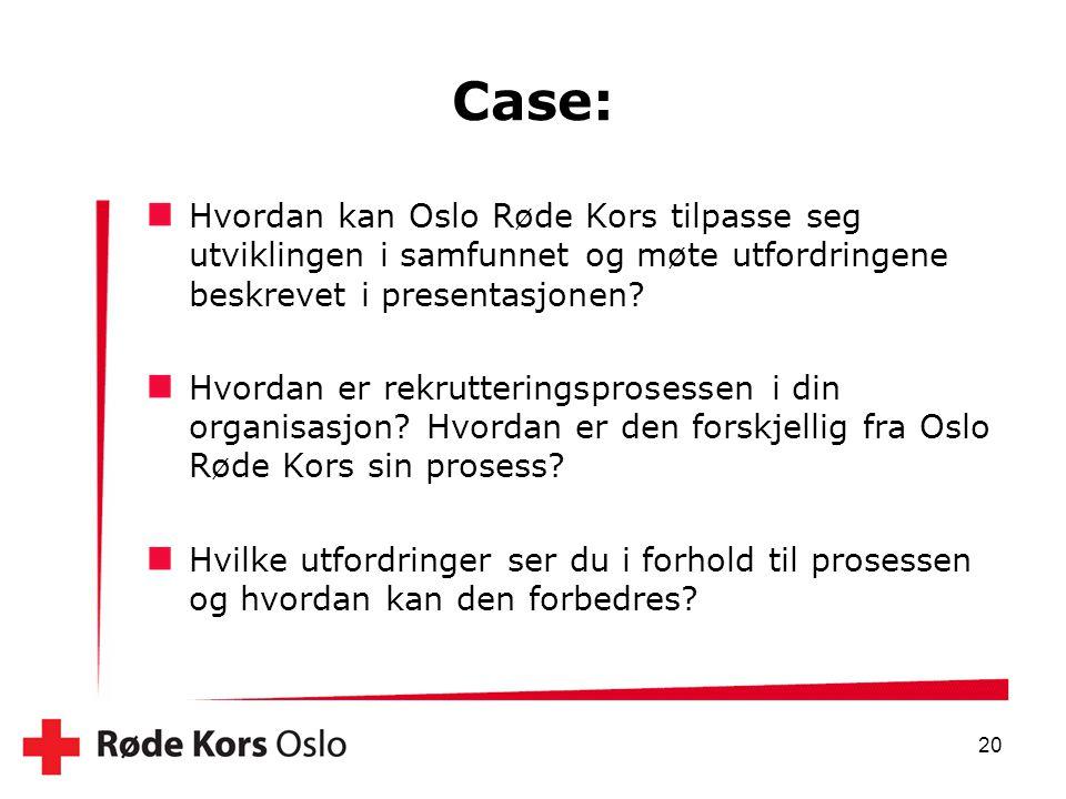Case: Hvordan kan Oslo Røde Kors tilpasse seg utviklingen i samfunnet og møte utfordringene beskrevet i presentasjonen