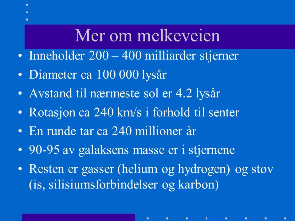 Mer om melkeveien Inneholder 200 – 400 milliarder stjerner