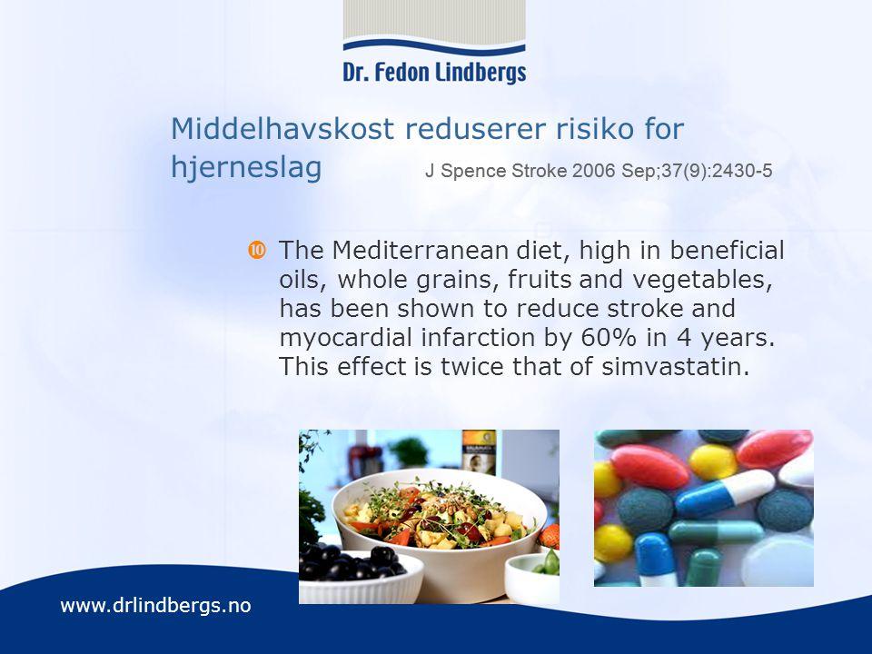Middelhavskost reduserer risiko for hjerneslag