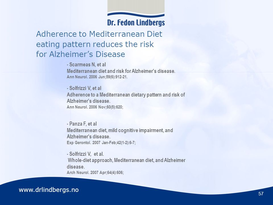 Adherence to Mediterranean Diet eating pattern reduces the risk for Alzheimer's Disease