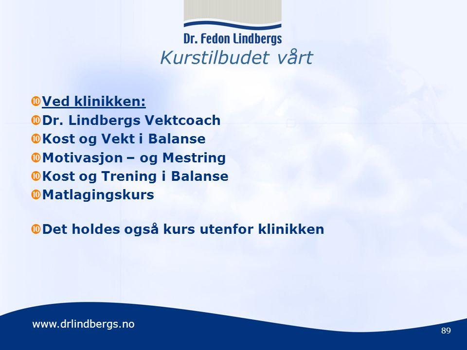 Kurstilbudet vårt Ved klinikken: Dr. Lindbergs Vektcoach