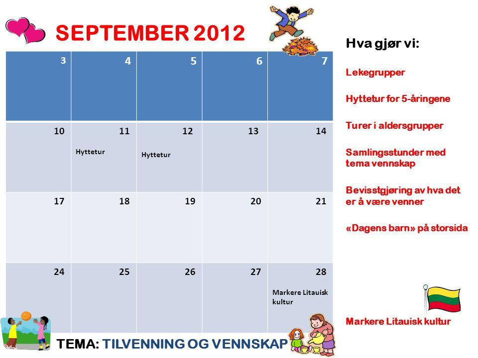 SEPTEMBER 2012 Hva gjør vi: TEMA: TILVENNING OG VENNSKAP 4 5 6 7 3 10