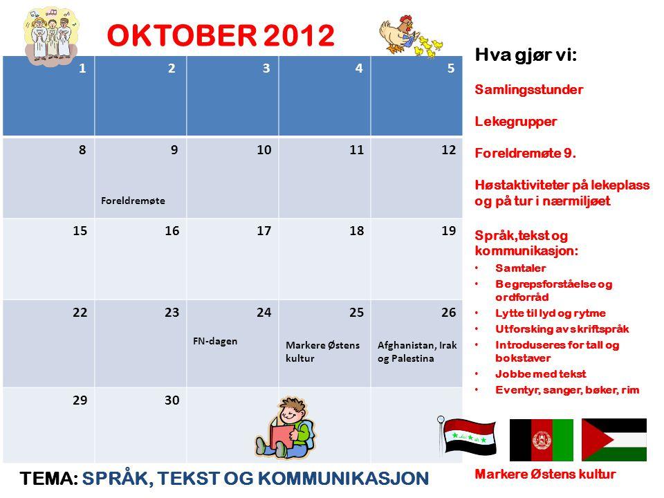 OKTOBER 2012 Hva gjør vi: TEMA: SPRÅK, TEKST OG KOMMUNIKASJON 1 2 3 4