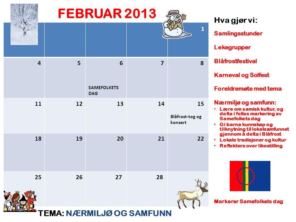 FEBRUAR 2013 TEMA: NÆRMILJØ OG SAMFUNN Hva gjør vi: 1 4 5 6 7 8 11 12