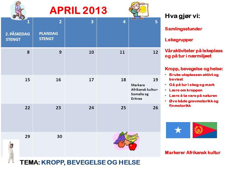 APRIL 2013 Hva gjør vi: TEMA: KROPP, BEVEGELSE OG HELSE 1 2. PÅSKEDAG