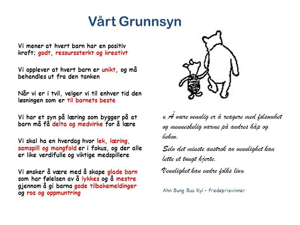 Vårt Grunnsyn Vi mener at hvert barn har en positiv kraft; godt, ressurssterkt og kreativt.