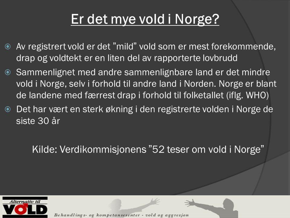 Er det mye vold i Norge Av registrert vold er det mild vold som er mest forekommende, drap og voldtekt er en liten del av rapporterte lovbrudd.