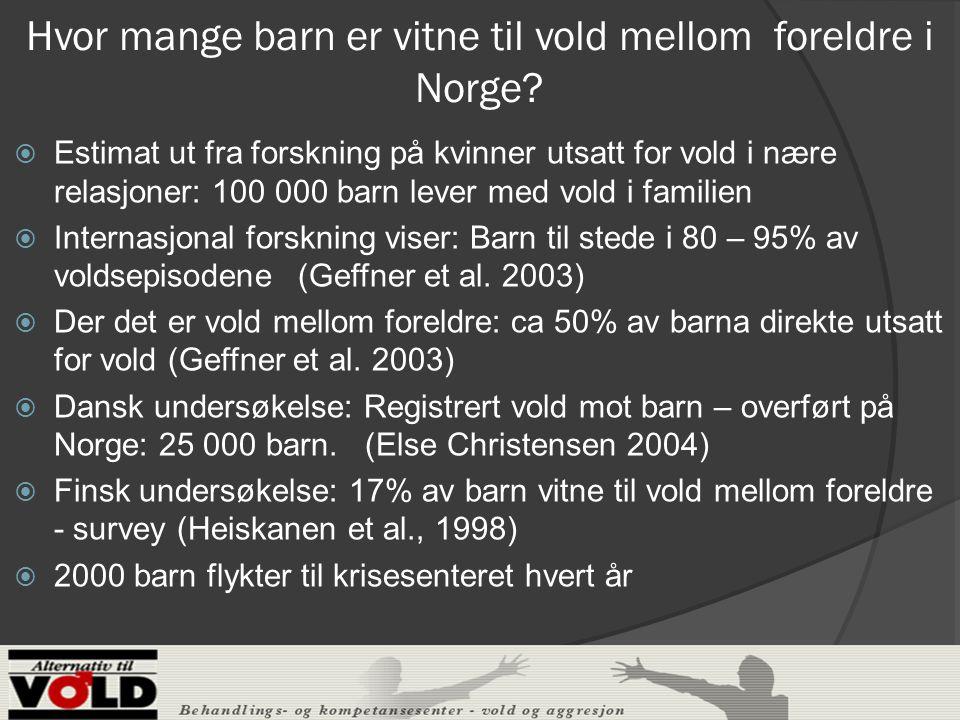 Hvor mange barn er vitne til vold mellom foreldre i Norge