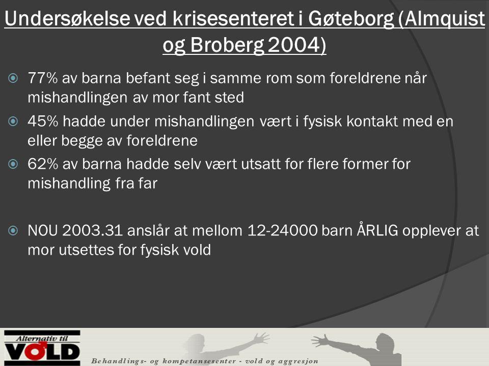 Undersøkelse ved krisesenteret i Gøteborg (Almquist og Broberg 2004)