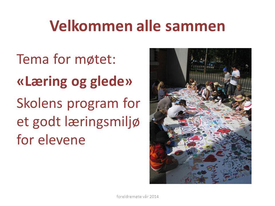 Velkommen alle sammen Tema for møtet: «Læring og glede» Skolens program for et godt læringsmiljø for elevene