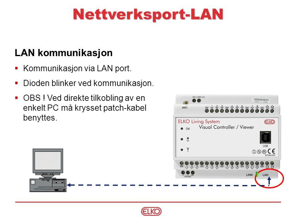 Nettverksport-LAN LAN kommunikasjon Kommunikasjon via LAN port.