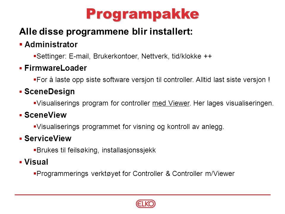 Programpakke Alle disse programmene blir installert: Administrator