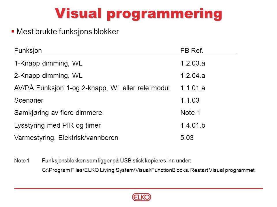 Visual programmering Mest brukte funksjons blokker Funksjon FB Ref.