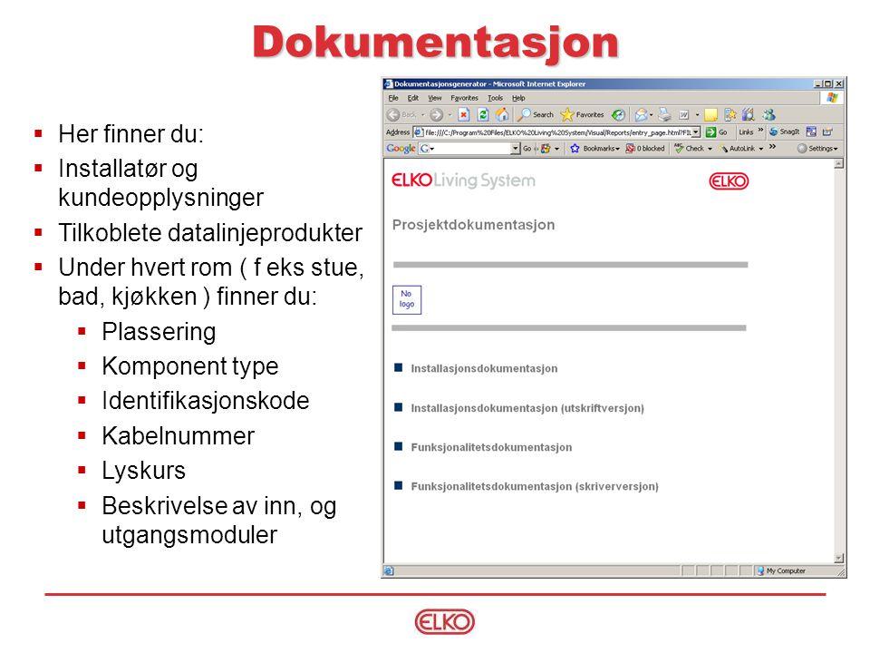 Dokumentasjon Her finner du: Installatør og kundeopplysninger