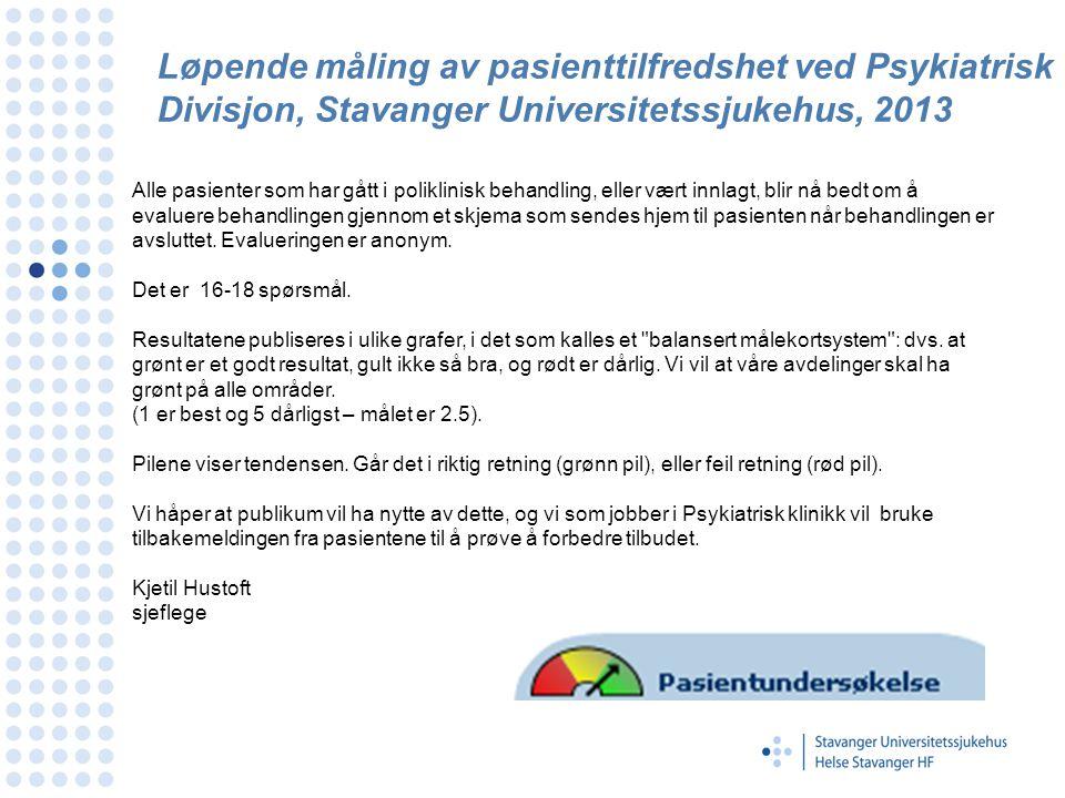 Løpende måling av pasienttilfredshet ved Psykiatrisk Divisjon, Stavanger Universitetssjukehus, 2013