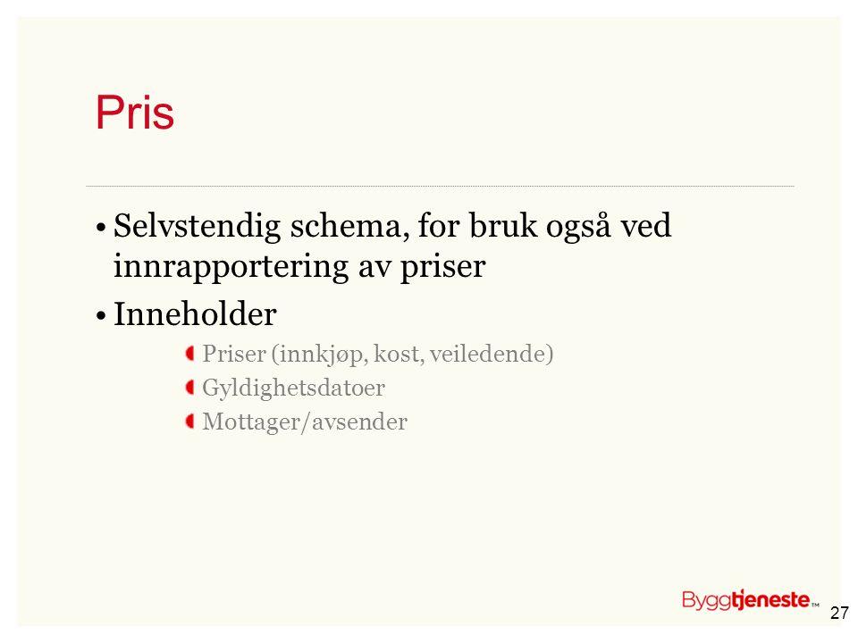 Pris Selvstendig schema, for bruk også ved innrapportering av priser