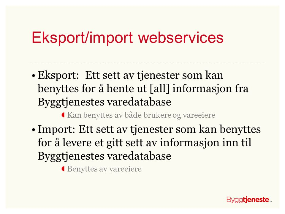 Eksport/import webservices