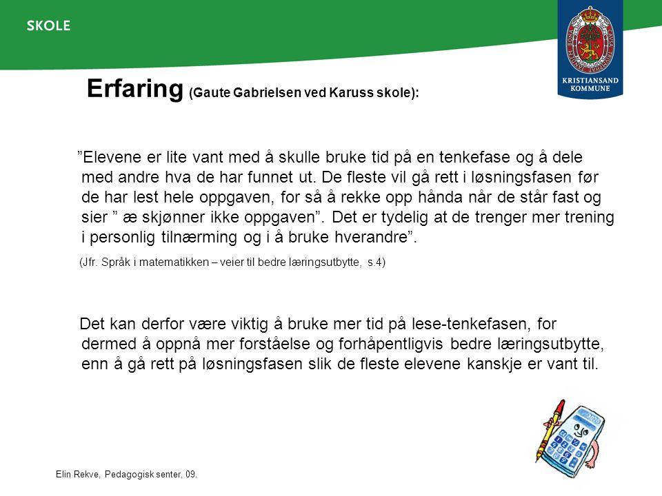 Erfaring (Gaute Gabrielsen ved Karuss skole):