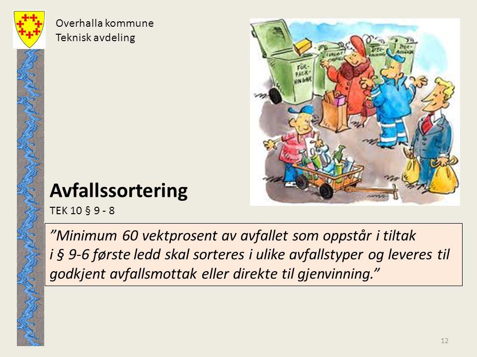 Overhalla kommune Teknisk avdeling. Avfallssortering. TEK 10 § 9 - 8.