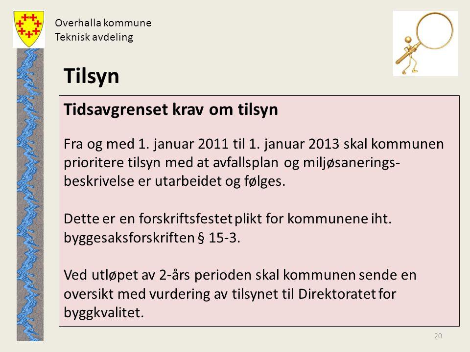 Overhalla kommune Teknisk avdeling. Tilsyn.