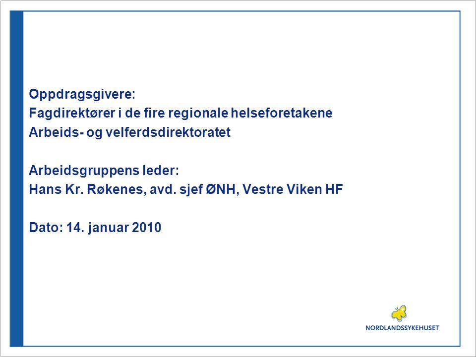 Oppdragsgivere: Fagdirektører i de fire regionale helseforetakene. Arbeids- og velferdsdirektoratet.