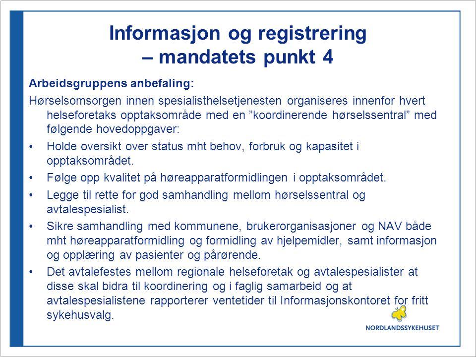 Informasjon og registrering – mandatets punkt 4
