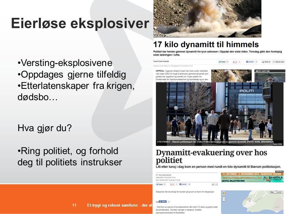 Eierløse eksplosiver Versting-eksplosivene Oppdages gjerne tilfeldig