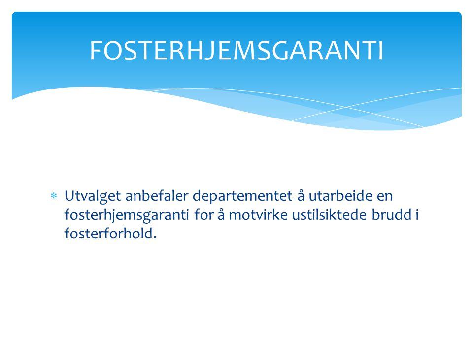 FOSTERHJEMSGARANTI Utvalget anbefaler departementet å utarbeide en fosterhjemsgaranti for å motvirke ustilsiktede brudd i fosterforhold.