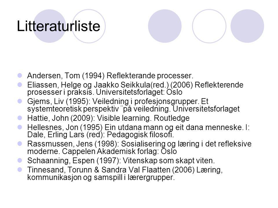 Litteraturliste Andersen, Tom (1994) Reflekterande processer.