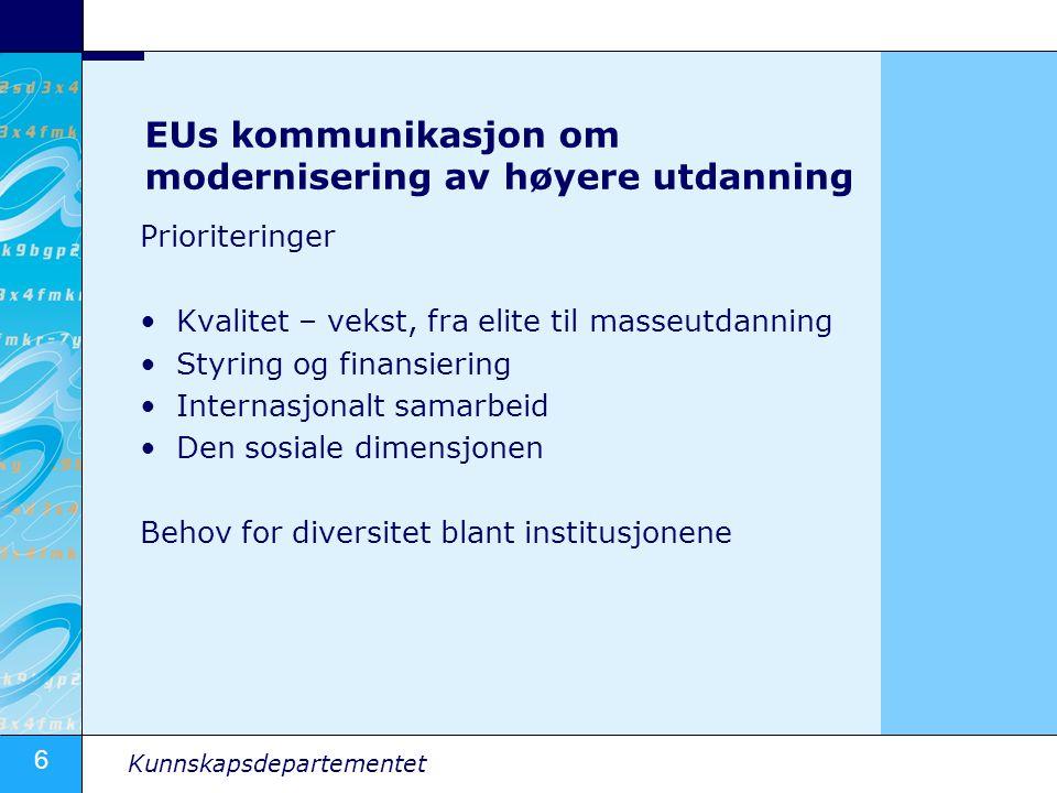 EUs kommunikasjon om modernisering av høyere utdanning