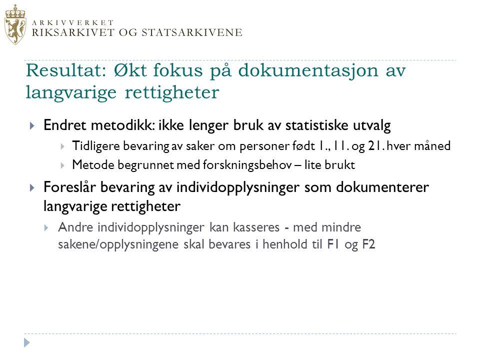 Resultat: Økt fokus på dokumentasjon av langvarige rettigheter