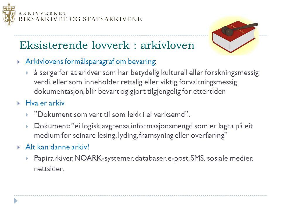 Eksisterende lovverk : arkivloven
